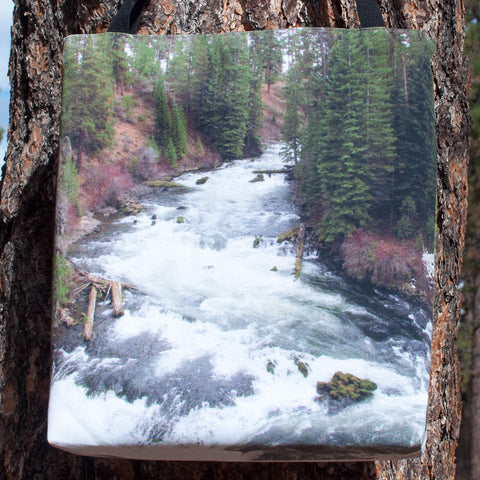 Large tote bag with a full-bleed picture of Benham Falls on both sides.