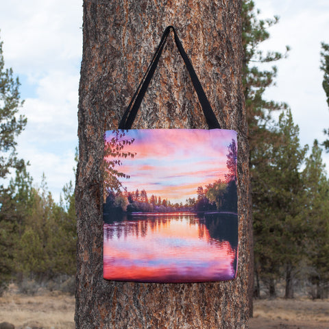 Large tote bag with a full-bleed picture of Mirror Pond on both sides.