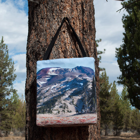 Large tote bag with a full-bleed picture of South Sister on both sides.