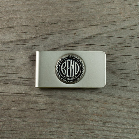 Pewter, city of Bend, Oregon logo money clip.