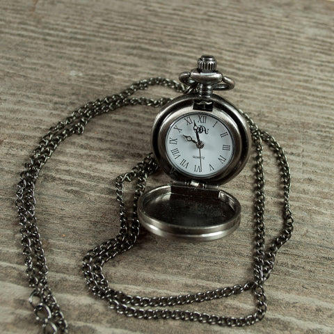 Pewter, city of Bend, Oregon logo, quartz watch necklace, souvenir.