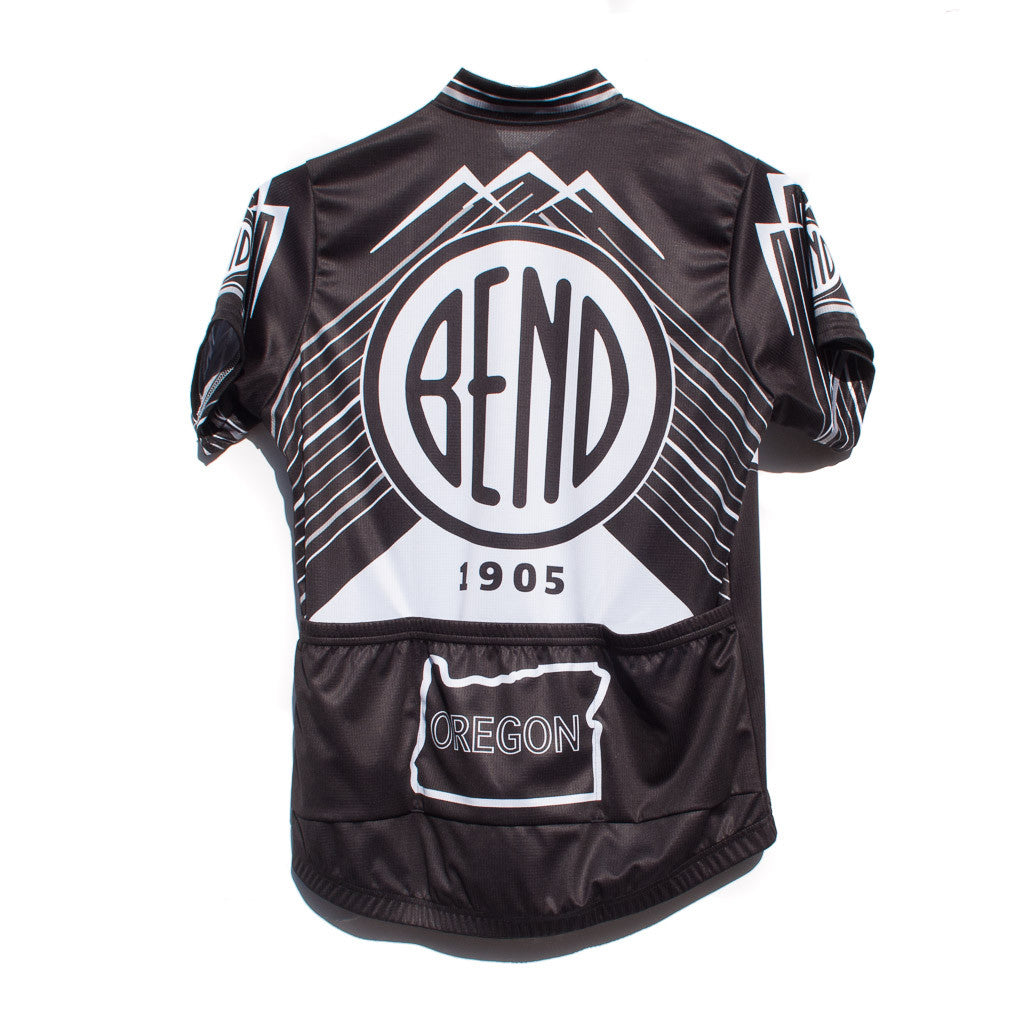 City of Bend, Oregon, logo, black and white, bike jersey. Men's and Women's sizes.