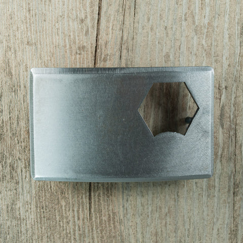 Handmade, brushed metal bottle opener belt buckle. Bend, Oregon souvenir.