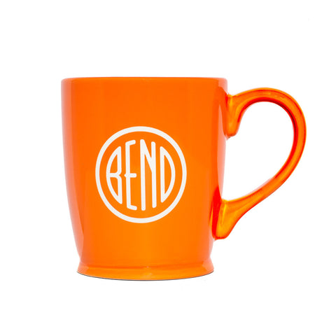 Orange Bend, Oregon souvenir coffee mug. Sandblasted with the round Bend city logo.