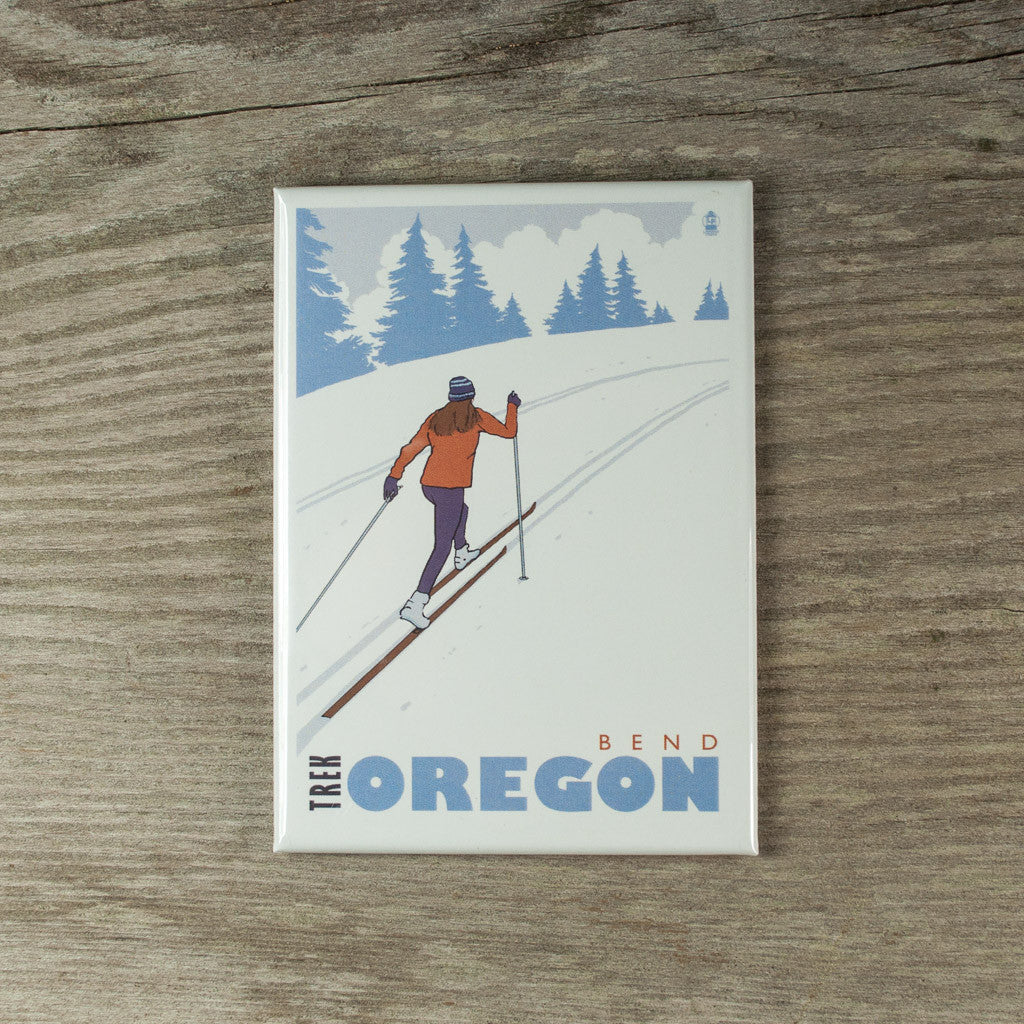 Cross country ski, Bend, Oregon souvenir magnet.