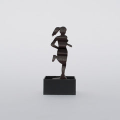 Bend, Oregon wooden souvenir mini carved sculpture featuring the word Bend and a female runner.