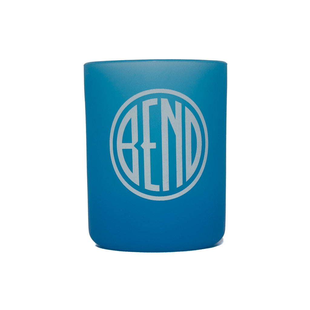 Souvenir Silipint blue cup with Bend, Oregon logo