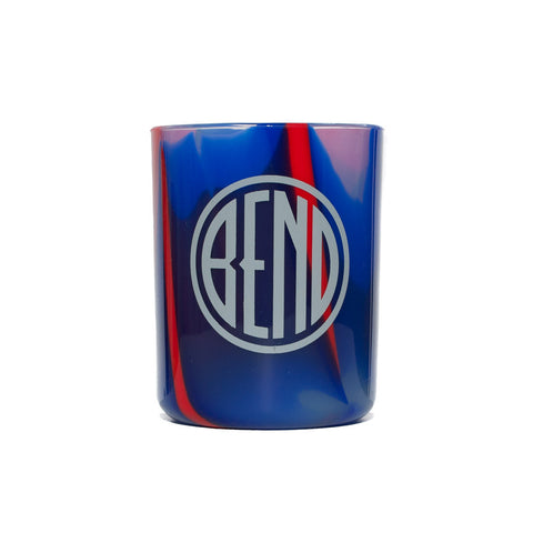 Souvenir Silipint red, white and blue tie dye cup with Bend, Oregon logo