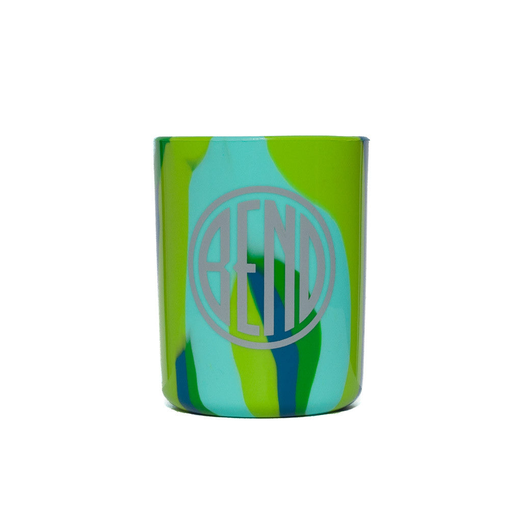 Souvenir Silipint green tie dye cup with Bend, Oregon logo