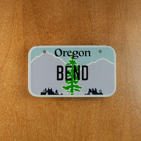 Bend Oregon License Plate Tin Mint Box with a Slide Cover