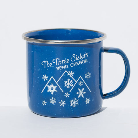 Bend, Oregon blue souvenir Three Sisters Mountains tin cup.