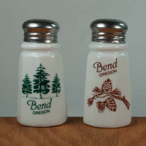 Bend Oregon Salt and Pepper Shakers with Trees and Pinecones