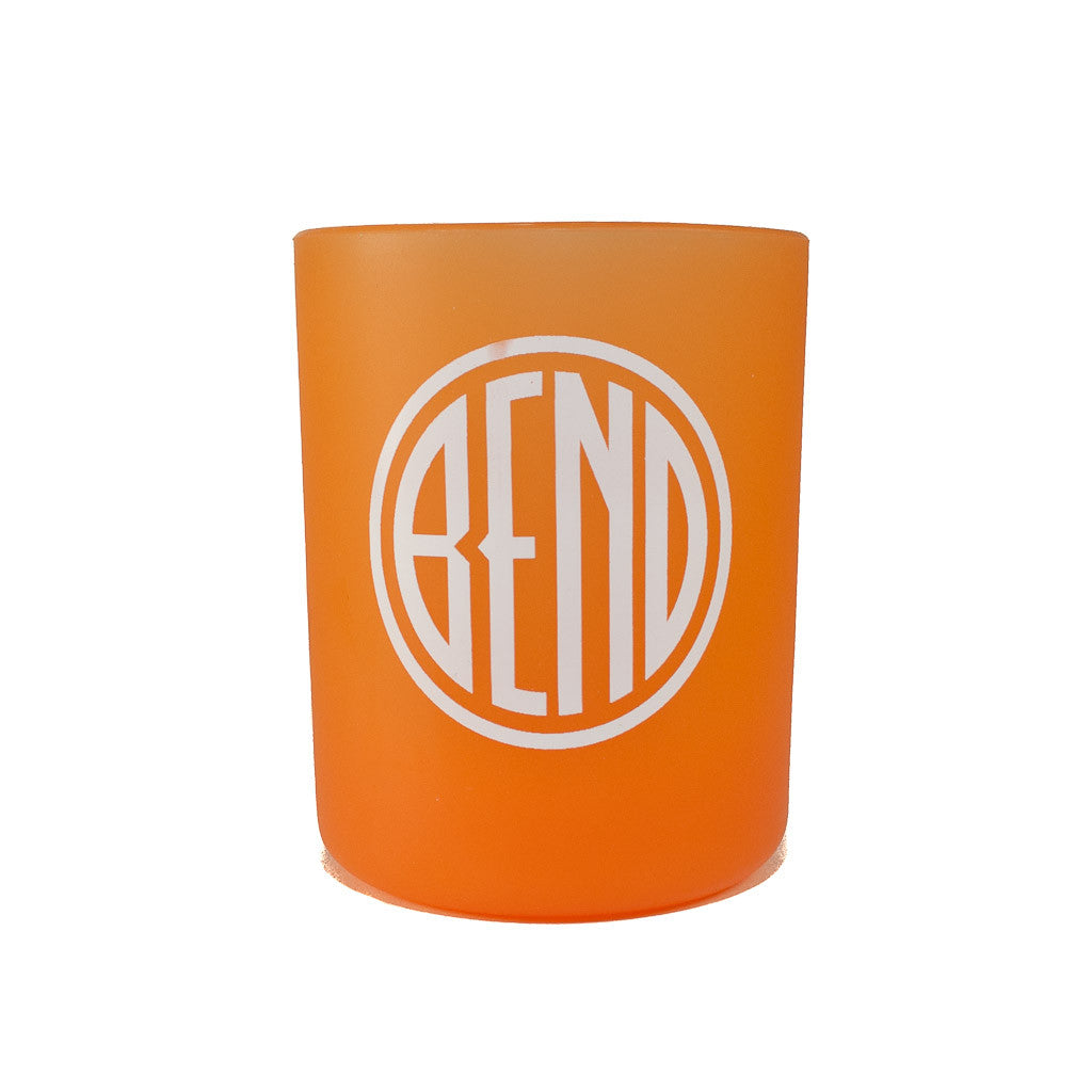 Souvenir Silipint orange cup with Bend, Oregon logo