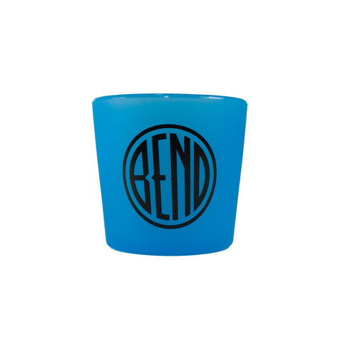 Souvenir Silipint blue rocks cup with Bend, Oregon logo