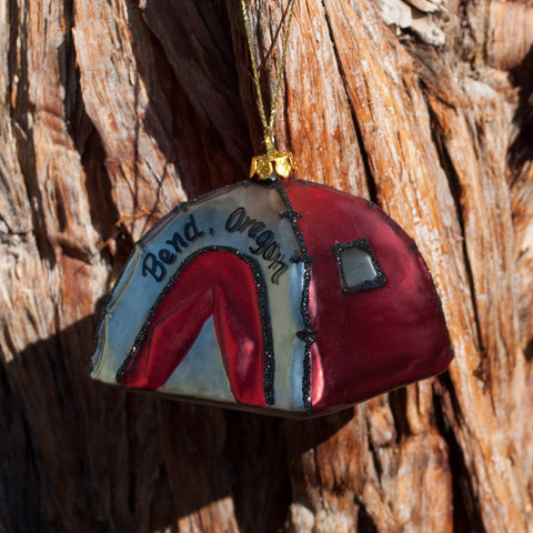 Bend Oregon Red Tent Ornament made of glass