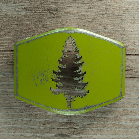 Handmade, green pine tree cut out belt buckle. Bend, Oregon souvenir.