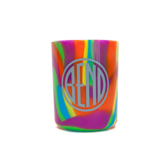 12 ounce Silipint cup, bright tie dyed color