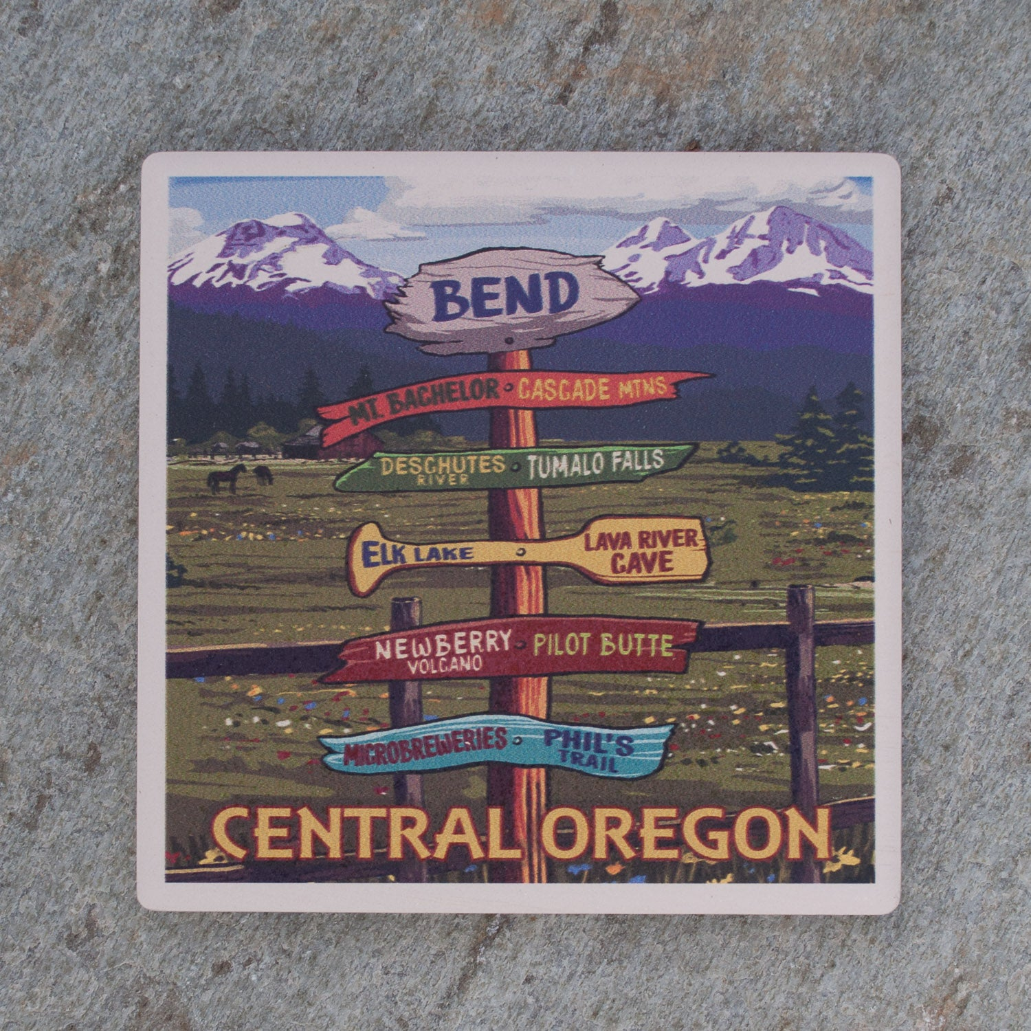 Bend Oregon Signpost Coaster - Simply Bend Souvenirs