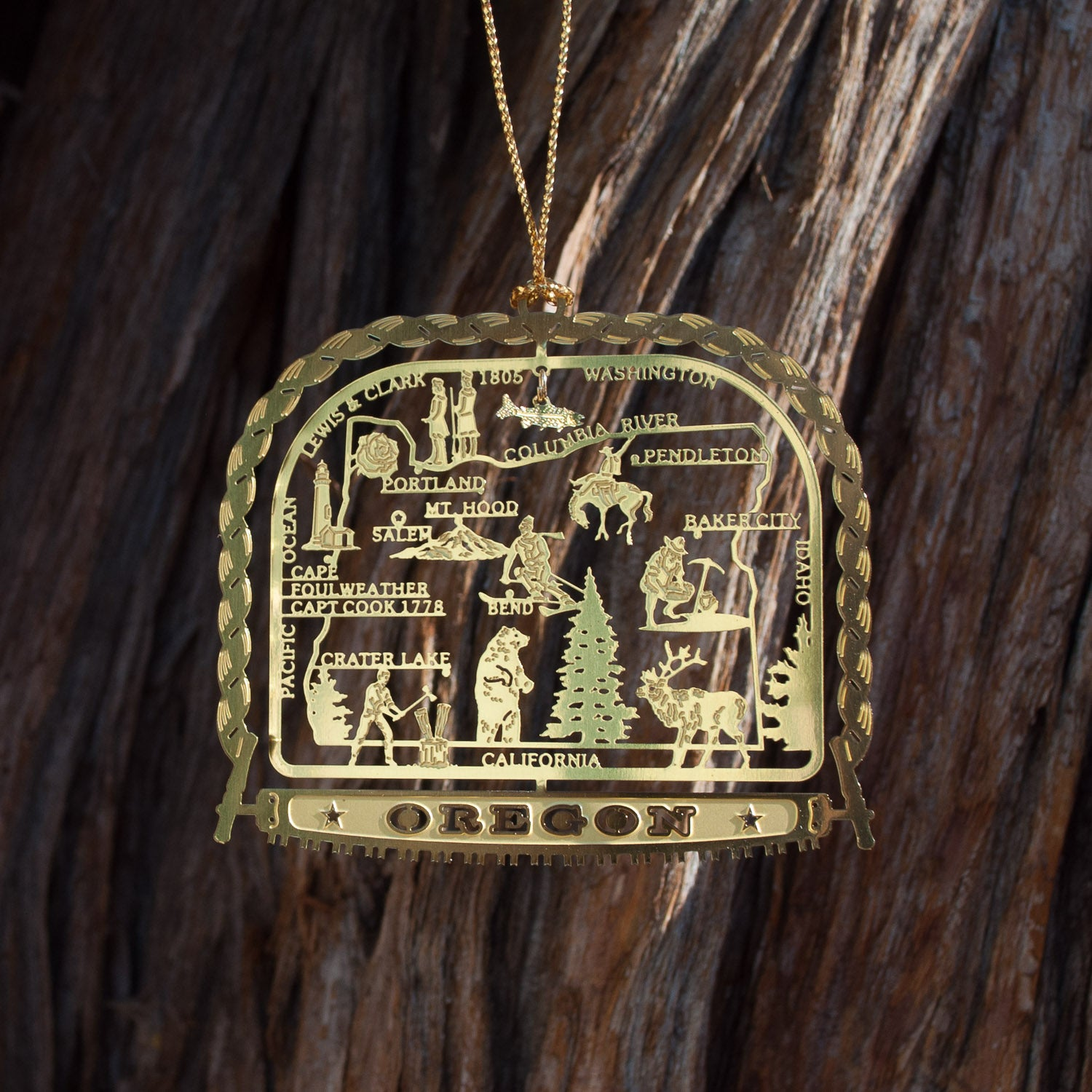Brass Oregon Ornament - Simply Bend Souvenirs