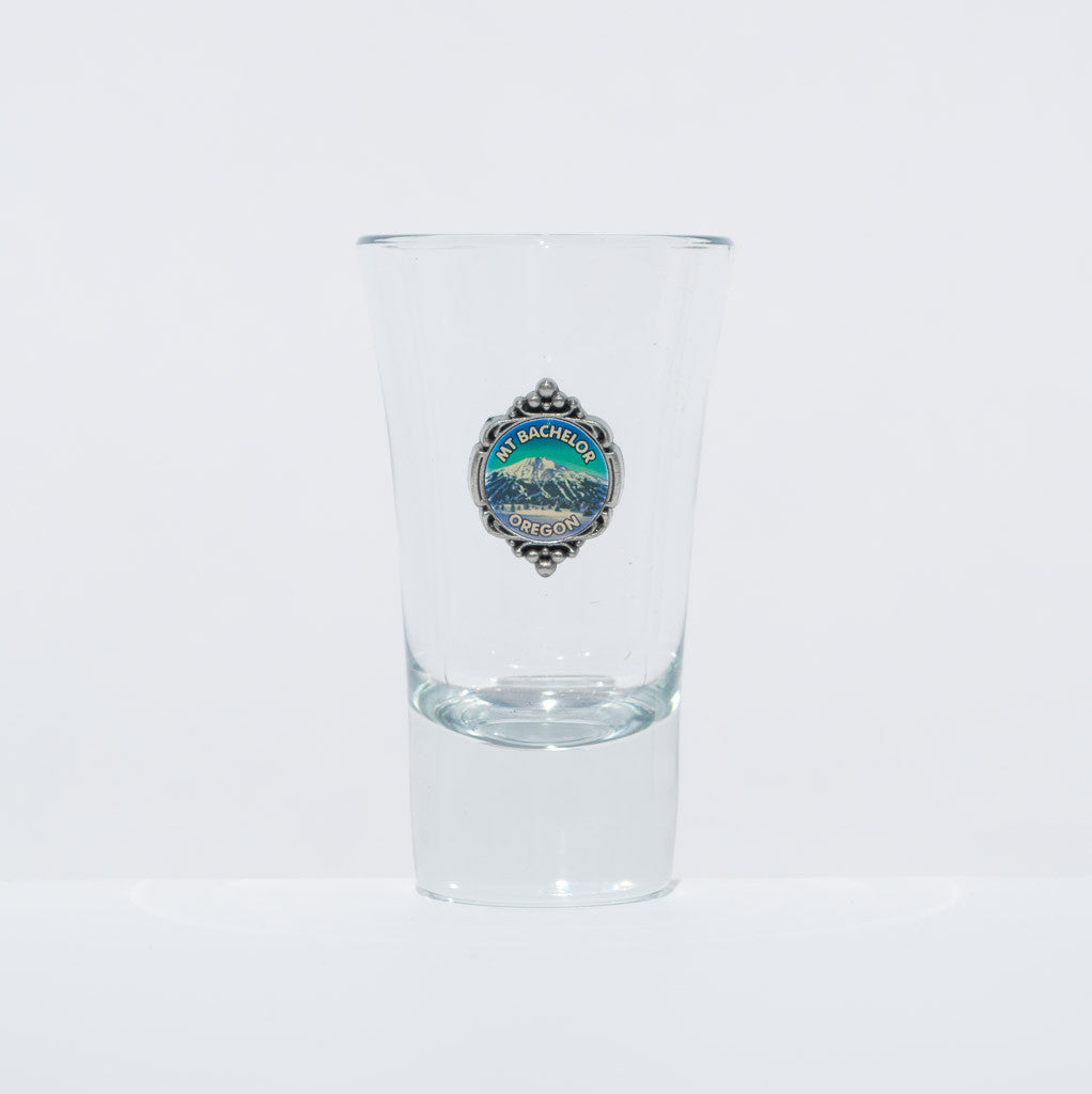 Mt. Bachelor Medallion Shot Glass - Simply Bend Souvenirs