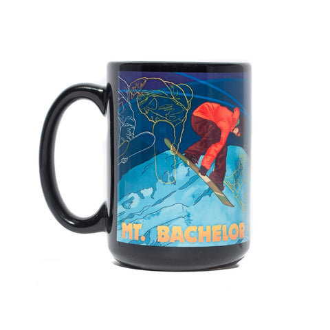 Black, Mt. Bachelor, Bend, Oregon souvenir coffee mug with a timelapsed snowboarder at night.