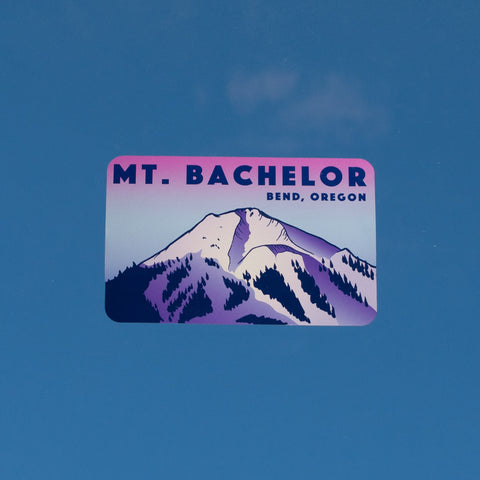 Souvenir decal that reads Mt. Bachelor, Bend, Oregon and pictures Mt. Bachelor with alpenglow coloring.