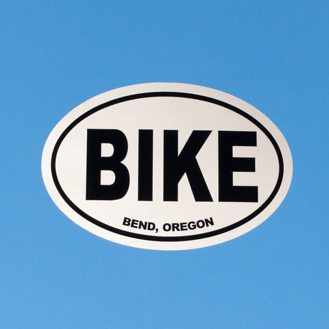 Oval, black and white souvenir decal that reads, BIKE, Bend, Oregon.