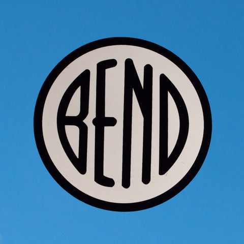 Black and white, city of Bend, Oregon, logo souvenir decal.
