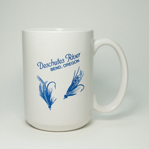 Bend, Oregon souvenir Deschutes River coffee mug with fly fishing flies.