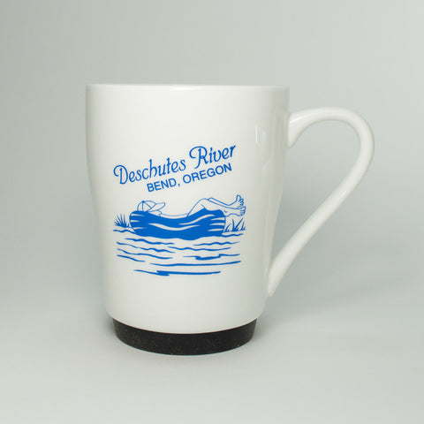 Bend, Oregon souvenir Deschutes River coffee mug with silicone ring on base.