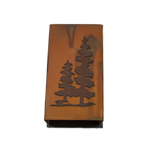 Distressed Large Steel Match Box Sleeve with Pine Trees