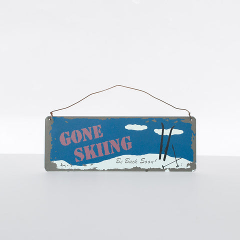 "Tin ""Gone Skiing"" Sign - Simply Bend Souvenirs"