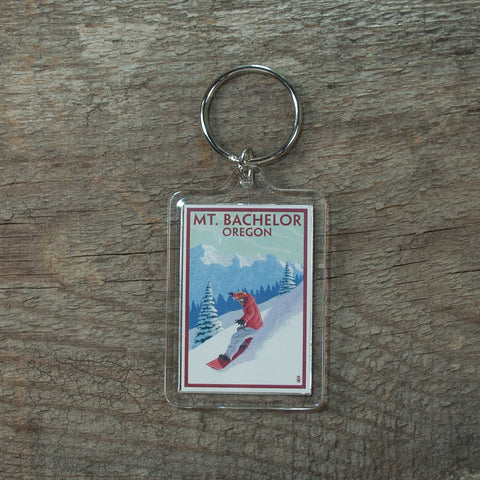 Mt. Bachelor Snowboarder Keychain - Simply Bend Souvenirs