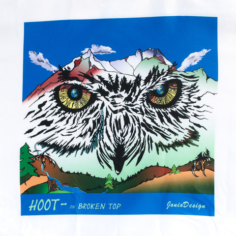 A beautiful artistic rendition of Broken Top mountain embracing the head of an owl and using vibrant colors.