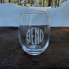 BEND Logo Stemless Red Wine Glass - Simply Bend Souvenirs