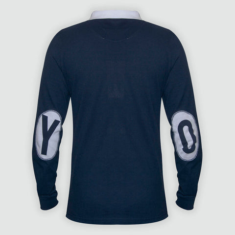 YO Galaxy Long Sleeved Pique Polo Shirt Navy