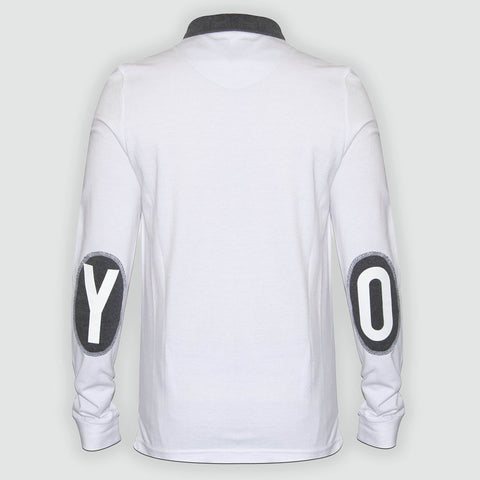YO Galaxy long sleeved Pique Polo shirt White