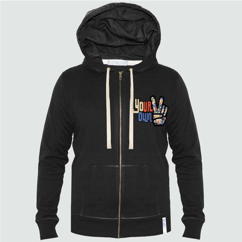 YO 'WRANGELL' Zip Through YO Hoody Black floral