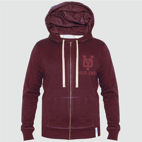 YO 'RACO'  Zip-Up Hoodie YO Sweat Jacket Burgandy