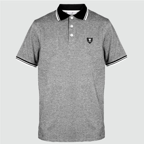 YO 'RIO' Polo Shirt Marl Grey/Black