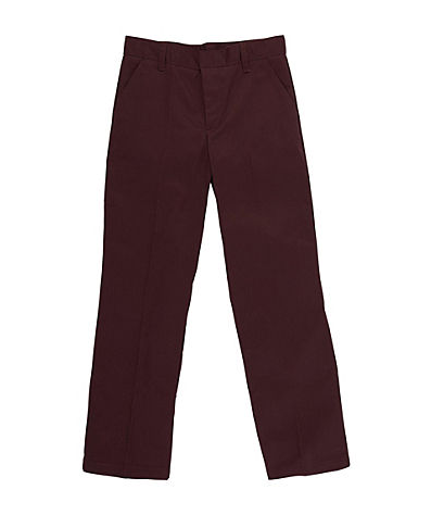 Boys Flat Front Pants: Brown