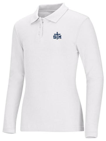 Girls Jersey LS Polo STM White