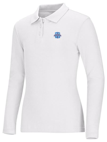 Girls Jersey LS Polo Ascension White