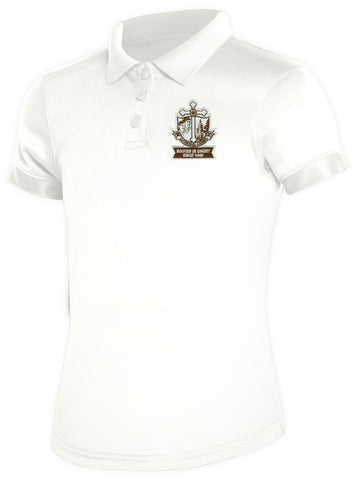 Girls DryFit Polo: CCS White