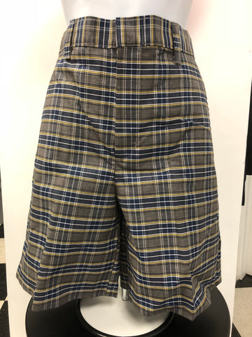 Flat Front Shorts Plaid 42