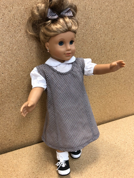 Doll Dress Set Brown Gingham