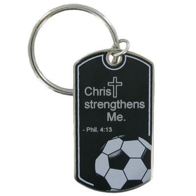 Soccer Key Chain/Christ Strengthens Me
