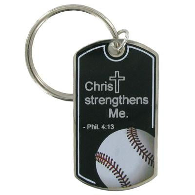 Baseball Key Chain/Christ Strengthens Me