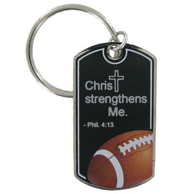 Football Key Chain/Christ Strengthens Me