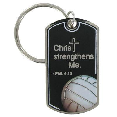 Volleyball Key Chain/Christ Strengthens Me
